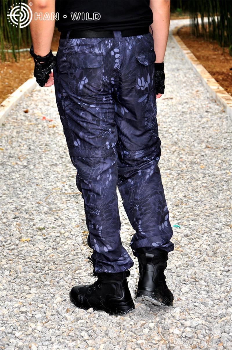 Verão Rússia bravos homens da selva Ativo Python padrão Serpentine impressão Camo de secagem rápida calças leves Painéis Splice calça casual