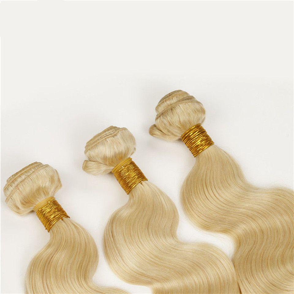 El pelo humano del color de la onda 613 del ELIBESS teje 50g / piece 3 pedazos / porción Weft rubio del pelo humano 3 paquetes
