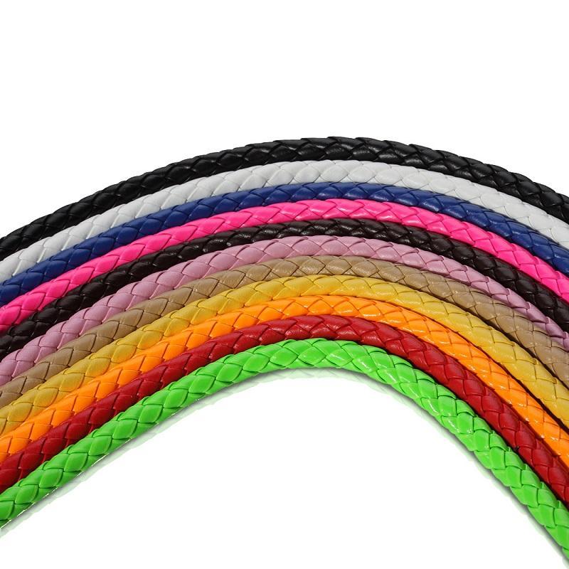 5 m PU Örgülü Deri zincirler bilezikler Boncuk Toptan Kordon Tel Dize Halat Zincir Moda Takı Karışık Tip DIY Charms Bilezikler
