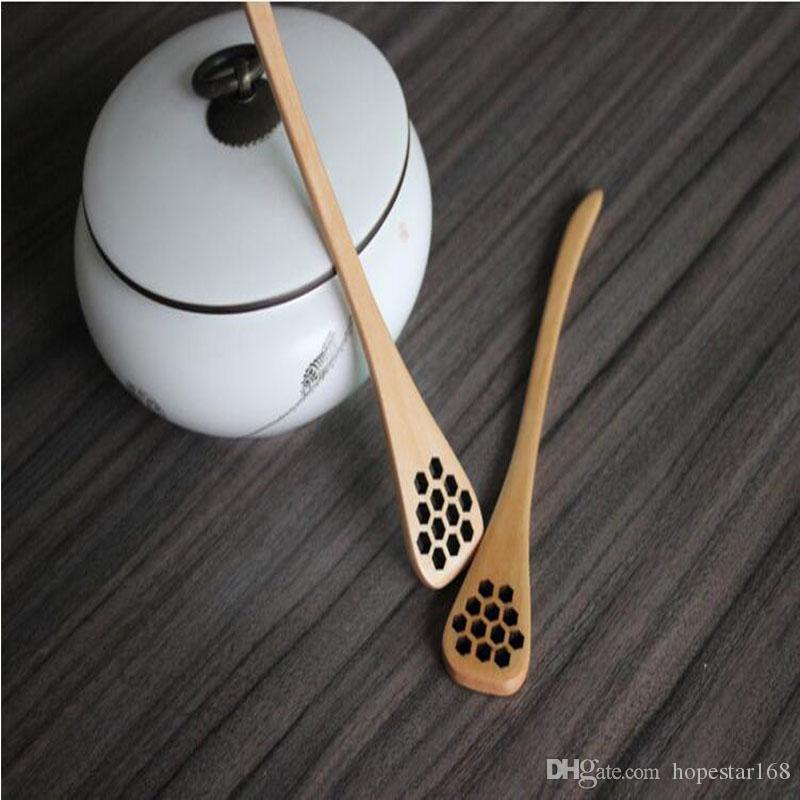 18.5 * 3 cm de cozinha de madeira criativo escultura mel agitando colheres de mel de mel esculpida Honey Dipper cozinha ferramenta talheres acessório