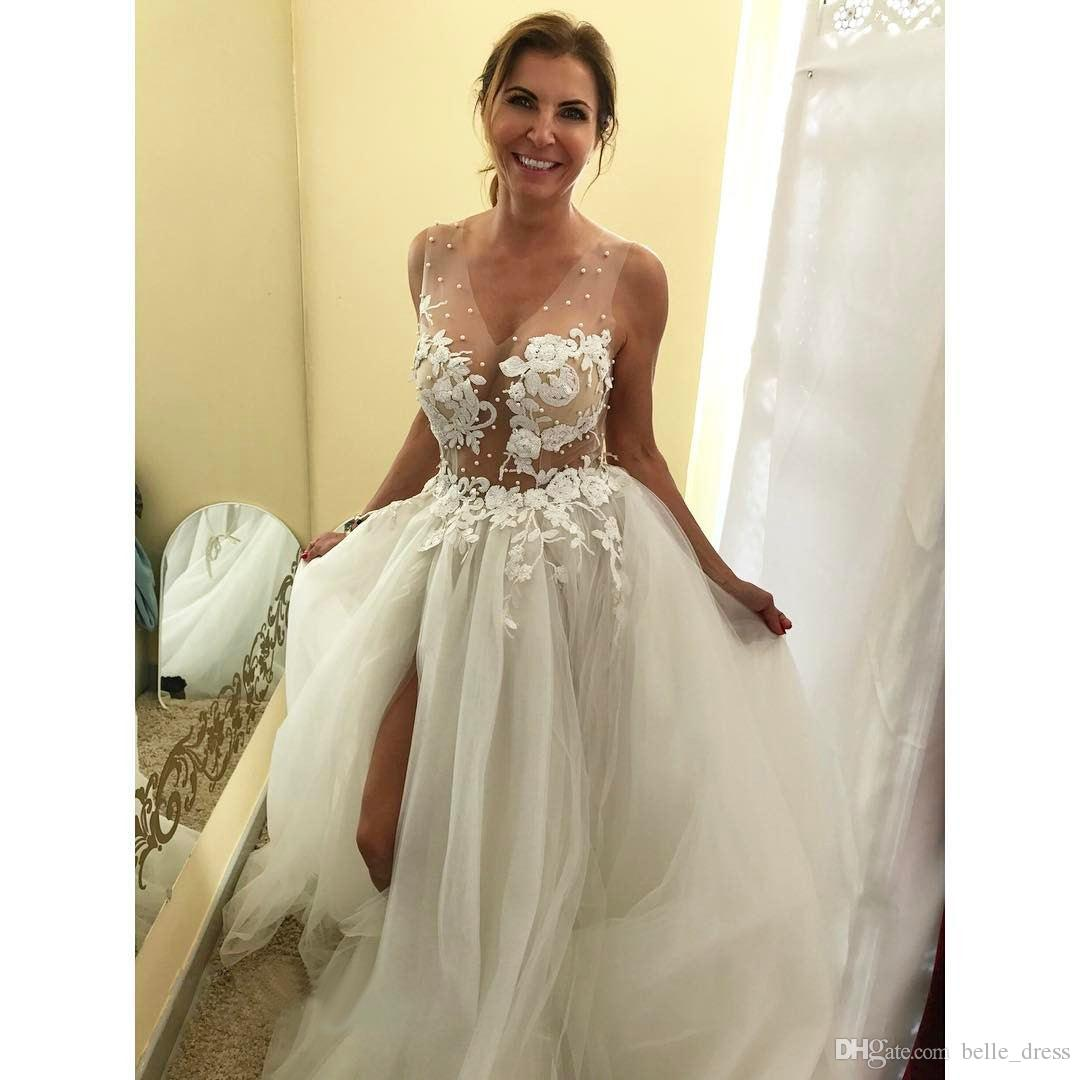 Discount 2017 Applique Wedding Dresses White Tulle V Neck Backless Court  Train Sexy Sheer Corset Puffy Beach Wedding Dress With Slit And Long Train  Used ...