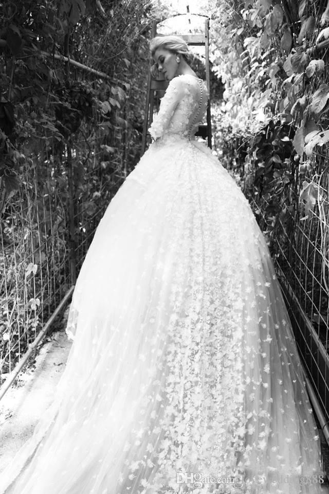 Wunderschöne Ballkleid Brautkleider 2017 Vollständig handgefertigte Blumen Appliques Illusion halbe Ärmeln Brautkleider mit abnehmbarem Zug