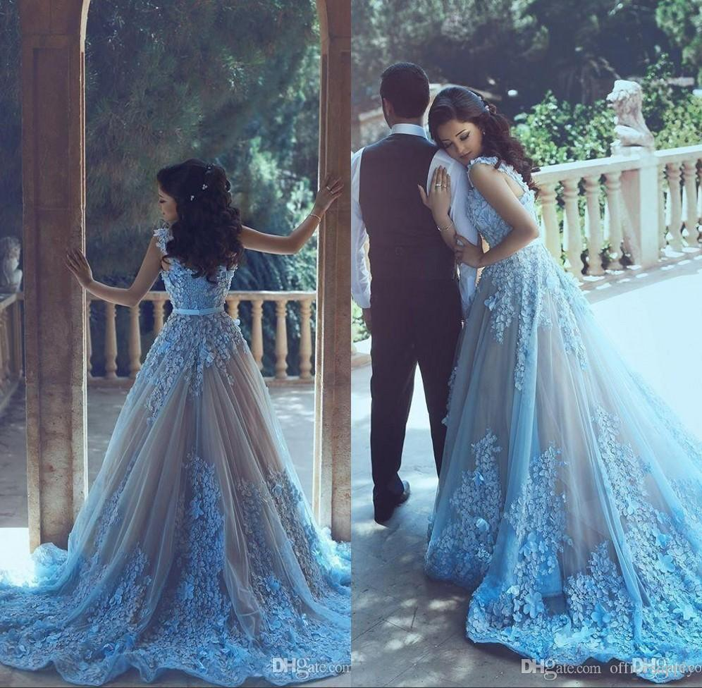 Said Mhamad New Long Prom Evening Dresses 2017 Sky Blue Applique A ...