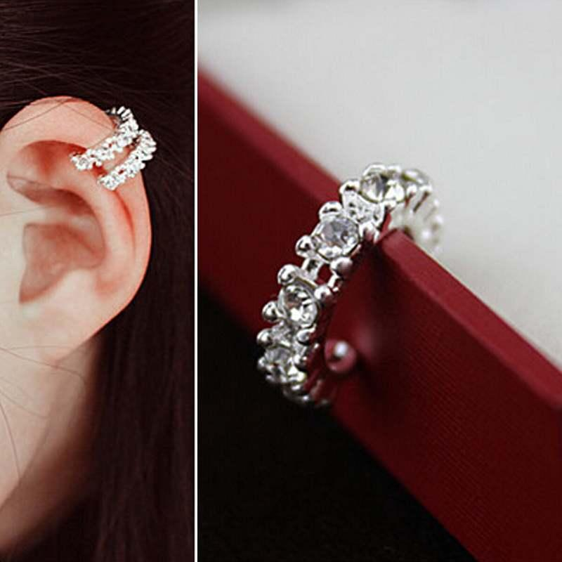 Brillante Elegante Mujer Lady Fashion Silver Gold Crystal Rhinestone Ear Cuff Wrap Cartilage Clip Pendiente