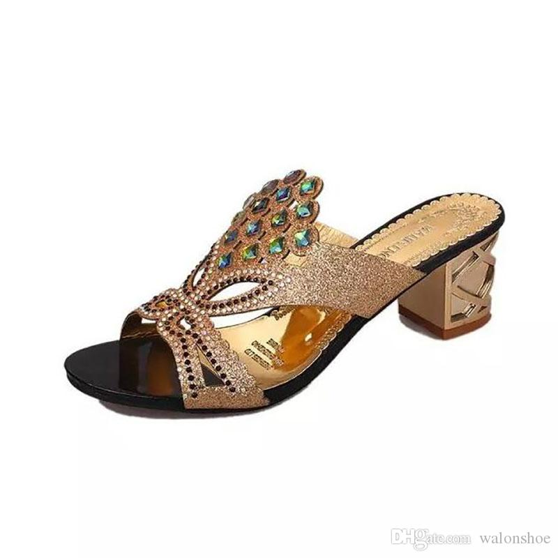 a82cd2c3a124b3 New 2017 Fashion Rhinestone Cut Out Women Sandals Square Heel Slip On Slippers  Summer Shoes Party Woman High Heel Sandals Moccasins For Men Shoe Sale From  ...