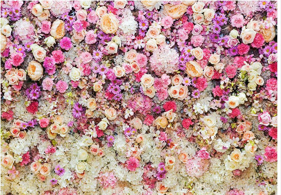Personalizado qualquer papel de parede à prova d'água Tamanho da Flor chão de fábrica campo 3D para parede do banheiro