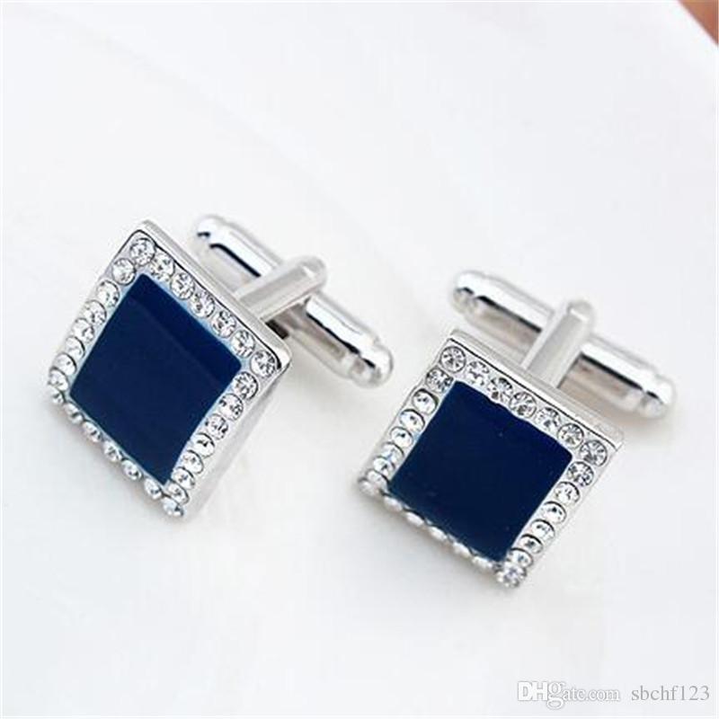 Blue Crystal Cuff Links Boutons De Manchette De Mariage Pour Hommes Haute Qualité Mode Bijoux Marque Design Populaire Amitié Fête Cadeau 19337