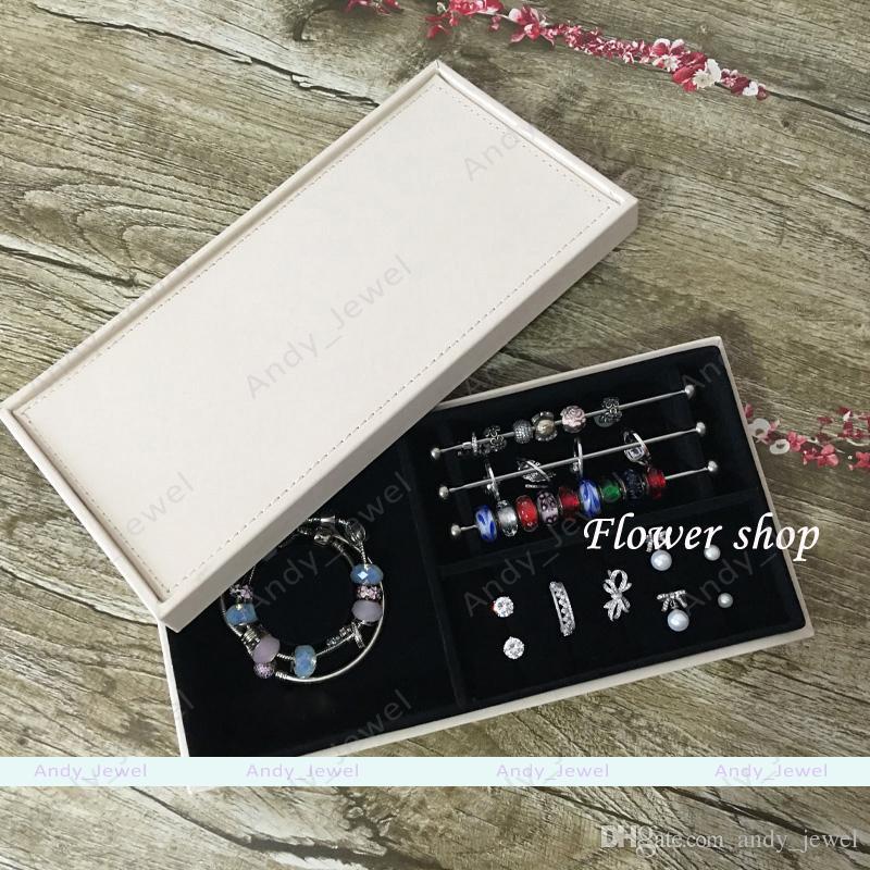 Única camada de caixas de jóias se encaixa estilo europeu de pandora encantos contas pingentes pulseiras e colares jóias diy brandede