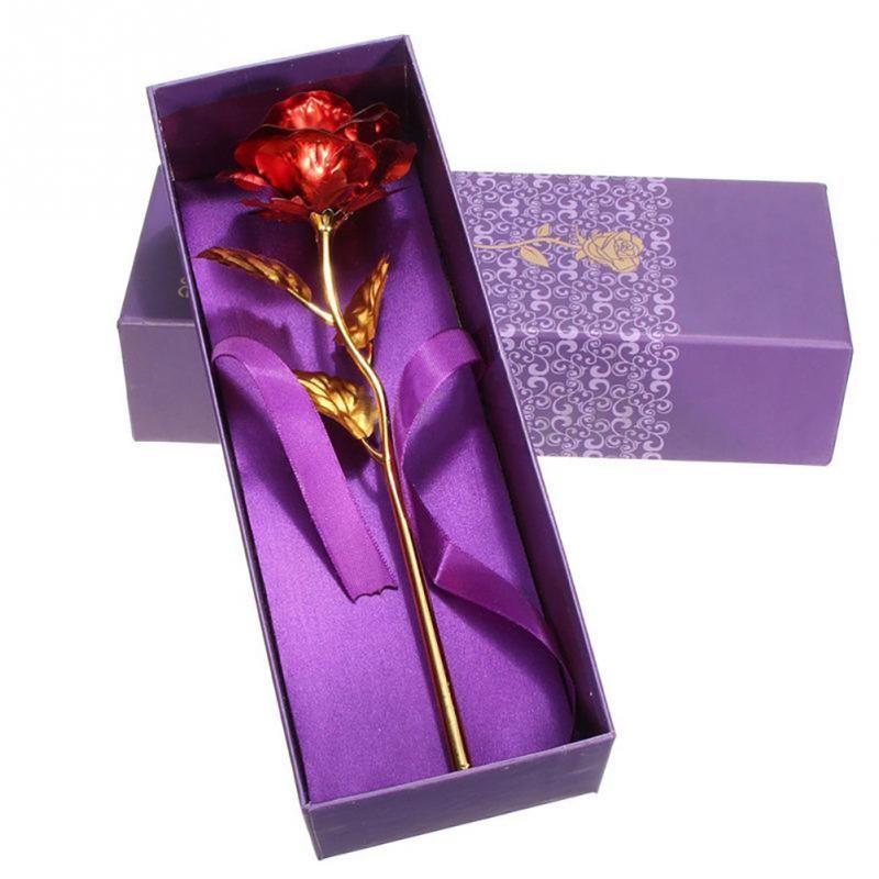 Regalos de San Valentín 24 k hoja de oro flor de Rose hecha a mano artesanal sumergido amantes del tallo largo de la boda para los amantes regalo LZ0046