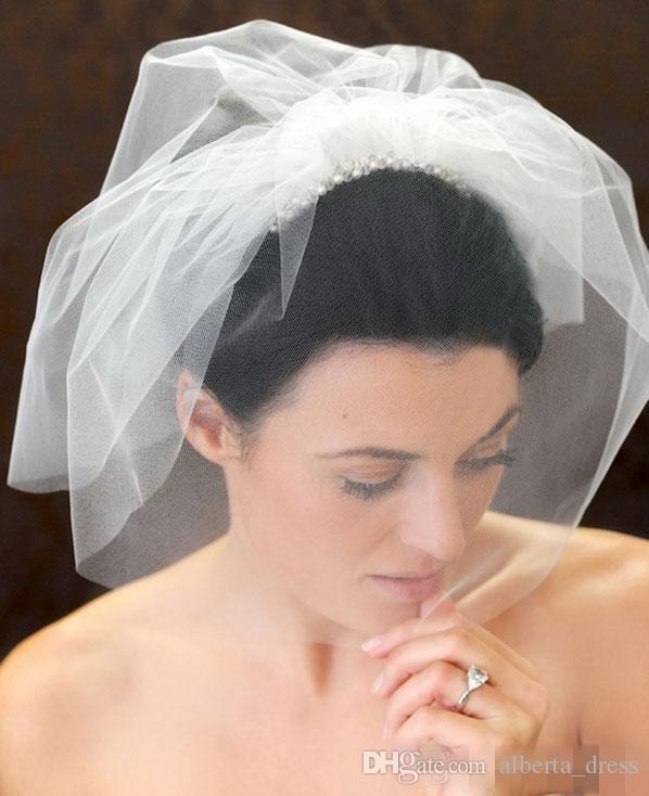 Veli da sposa Handmade Vintage White Flower Velo da sposa in rilievo Birdcage Veil Headpiece Head Veil Wedding Bridal Accessories Wedding