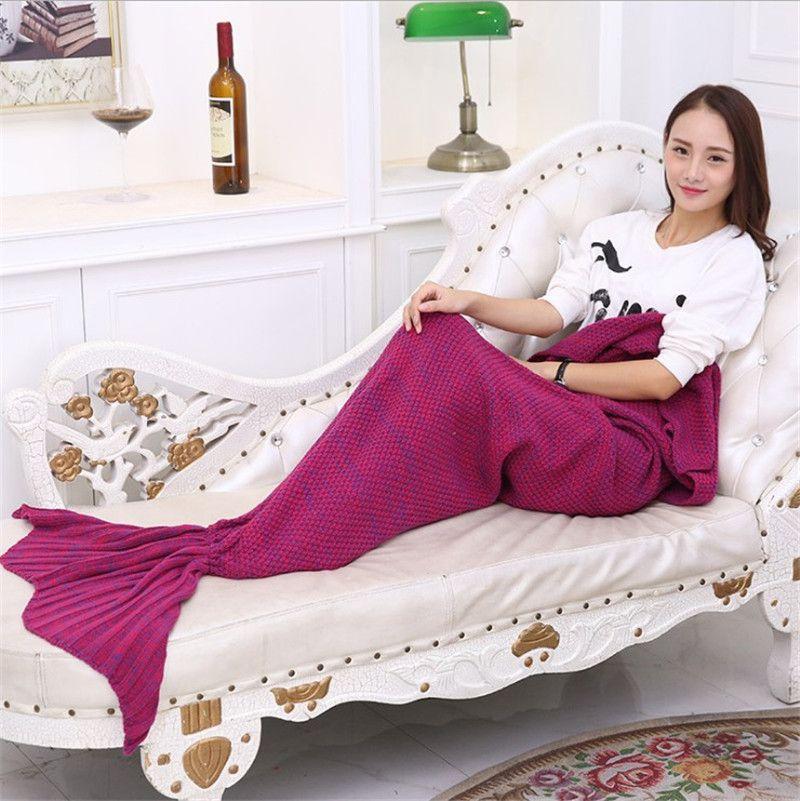 Sirena adulta mantas de cola sirena con cola sacos de dormir Cocoon colchón de punto sofá mantas sala de estar hecha a mano saco de dormir 180X90 cm K481