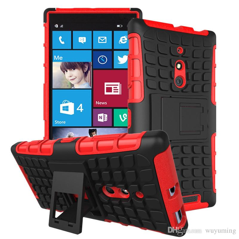 check out 840fd fcf7c Phone Case For Nokia Microsoft Lumia 830 N830 Tough Impact Case Heavy Duty  Armor Hybrid Anti-knock Silicon Hard Back Cover With Stand