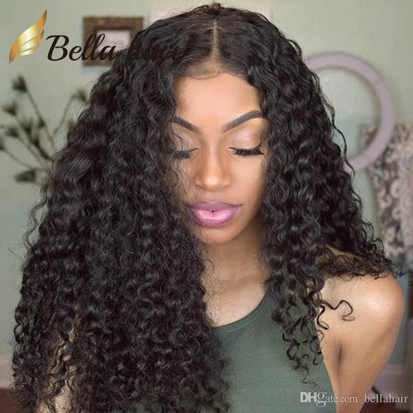 Brasilianska Mänskliga Virign Hår Kinky Curly Lace Front Paryk Människor Hår Parykor Medium Cap Size Med Kammar För Black Women Natural Color Bellahair