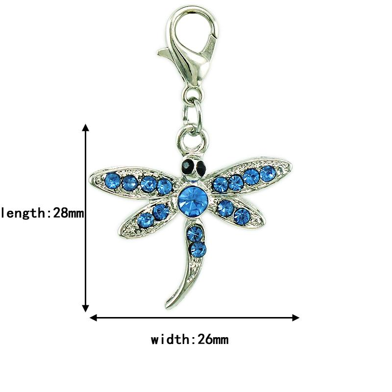 Fashion Charms With Lobster Clasp Dangle Rhinestone Dragonfly Animal Charms DIY Pendants Jewelry Making Accessories