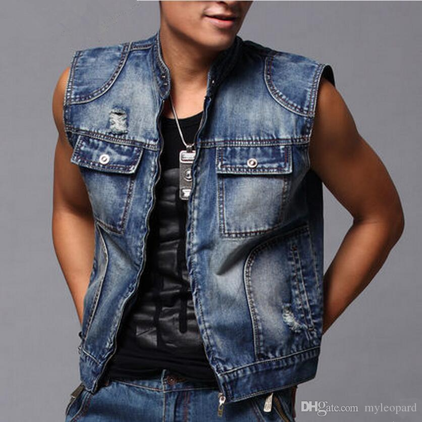 e96479a8270725 2019 Men S Denim Vest Male Sleeveless Jeans Jacket Fashion Outerwear Slim  Cowboy Jacket Clothing Spring And Summer From Myleopard
