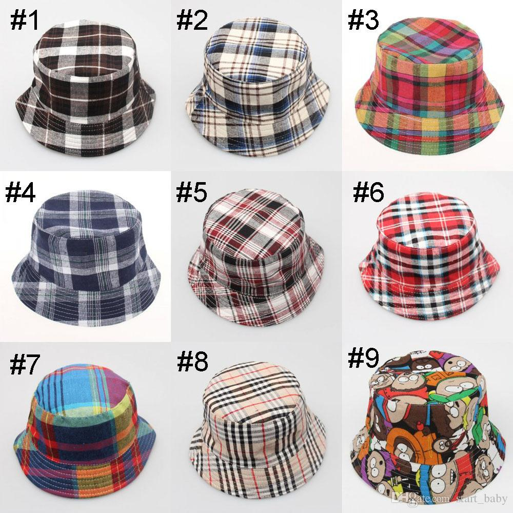 8c4f724d5ff Children Grid Bucket Hat Casual Flower Sun Printed Basin Canvas ...