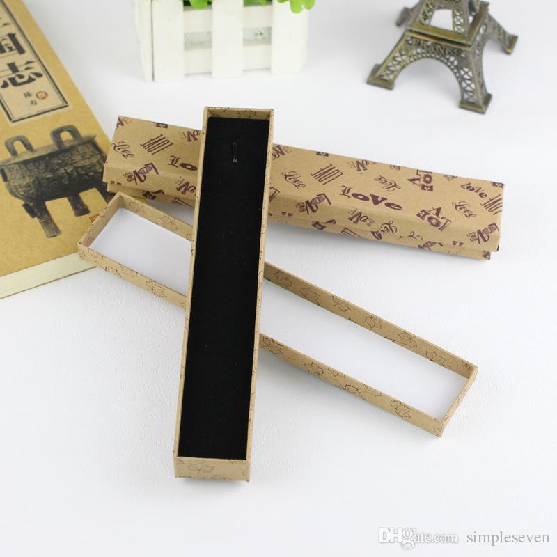 [Sette semplici] 21.5 * 4 * 2.5 cm stampato collana di gioielli d'amore imballaggio, foglie di acero ciondolo scatola di trasporto, cane orme braccialetto display