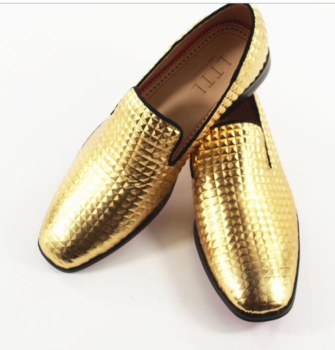Shiny Gold Lattice Shoes Men Slip