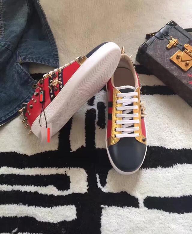 calidad superior naranja rojo Unisex zapatos casuales leopardo cabeza hardware decoración piel importada piel de oveja