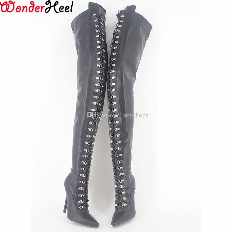 Wonderheel المتطرفة أحذية عالية الكعب 12 سنتيمتر خنجر overknee ماتي الفخذ أحذية عالية الجنس صنم عالية الكعب الدانتيل يصل الأحذية المنشعب