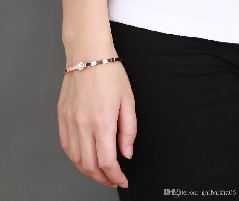Chapado en oro diseñador brazalete del acero inoxidable Cristal Manguito hebilla de apertura Amor pulsera para las mujeres joyería Pulseiras