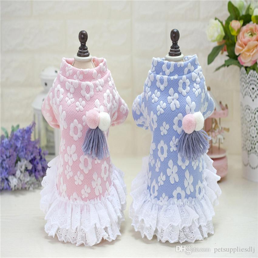 Y76 Winter Warm New Dog Dress High Quality Sweety Floral Pet Princess Dresses for Puppy Cats Teddy Pink Sweater