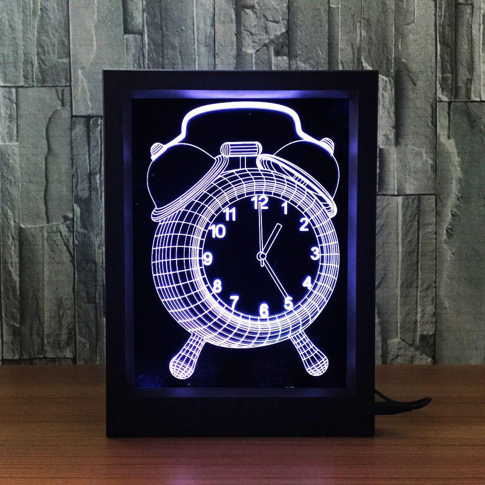 3D Clock LED Photo Frame Decoration Lamp IR Remote 7 RGB Lights DC 5V Factory Wholesale Drop Shipping