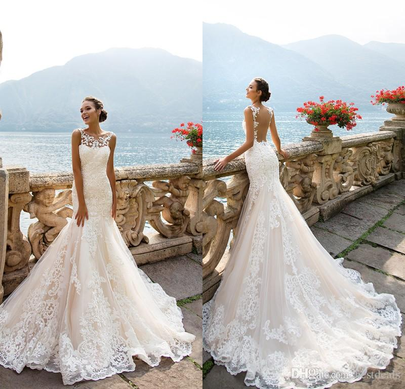 8786dbbf5a Milla Nova 2017 Stunning Mermaid Full Lace Wedding Dresses Crew Neck Court  Train Backless Beach Bridal Gowns Alternative Wedding Dresses Best Wedding  ...