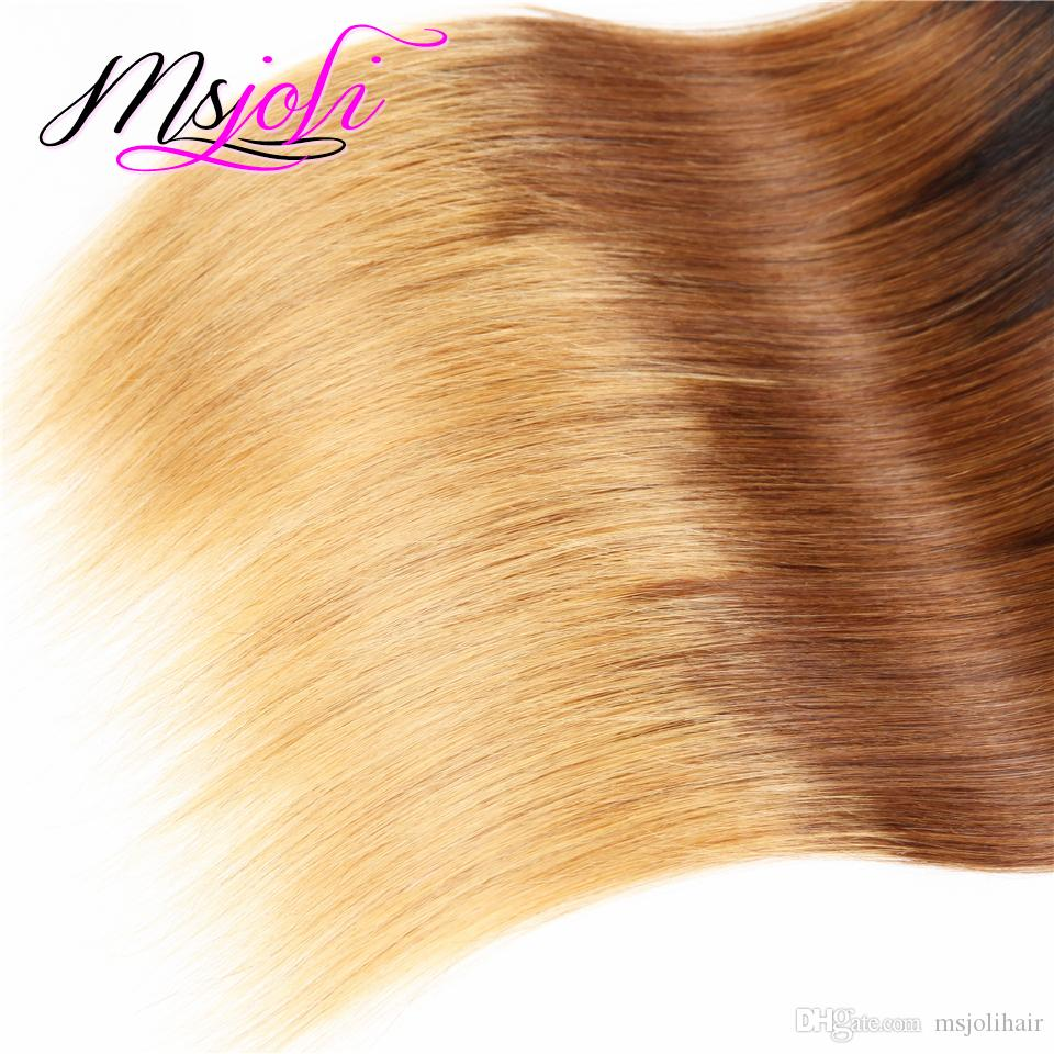 9A Mongolian Virgin Hair Weave Straight Three Tone Human Unprocessed Hair Extension Weft Ombre Color Four Bundles t1b-4-27