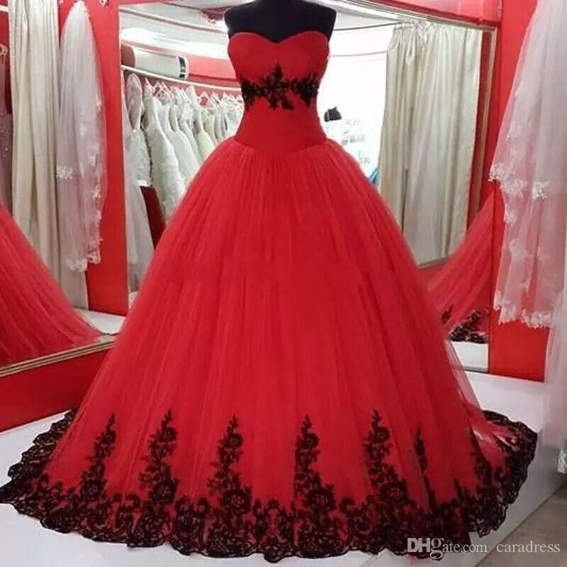 2018 Red And Black Wedding Dresses Plus Size Real Pictures ...