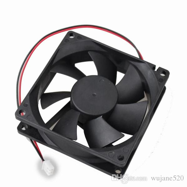 Black 8025 DC 12V/24V Laptop Cooling Fan 2 Terminal Brushless Blower Cooler for computer CPU PC Case Home and Industry Accessory