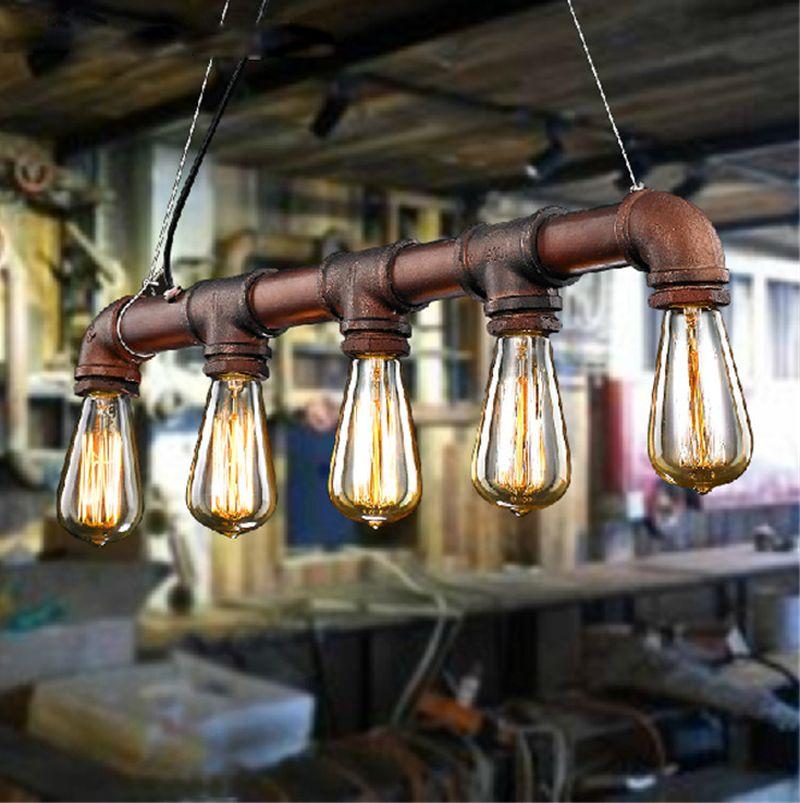 Discount Retro Edison Bar Dining Room Ktv Lighting Vintage Pendant Lights Water Pipe Lamp For Warehouse E27 Bulbs Lantern