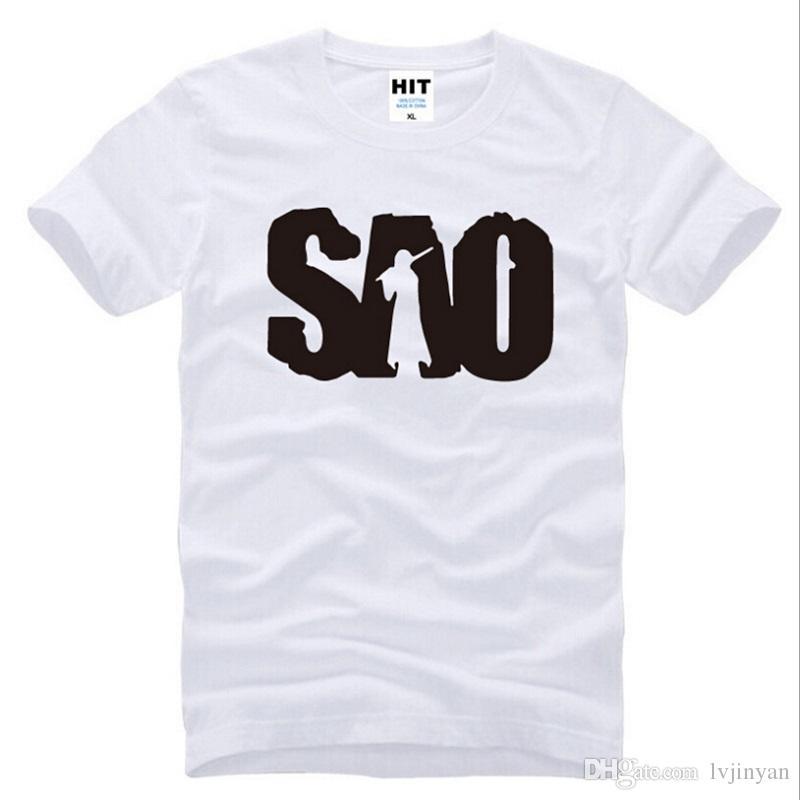 New Novelty Anime Sword Art Online Men's T Shirt 100% Cotton Short Sleeve SAO Letter Printed Tshirt Men Top Tees cosplay costume
