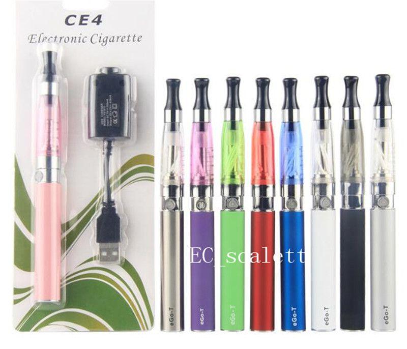 eGo CE4 starter kit Single CE4 Blister Kits 650mah 900mah 1100mah EGO-T Battery CE4 Clearomizer Atomizer vaporizer vape pen DHL