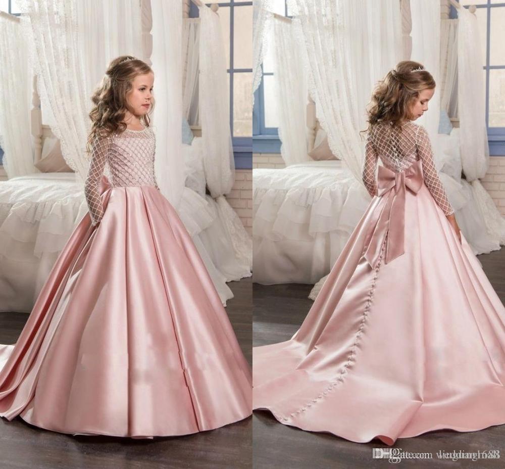 Stain Erstkommunion Kleider Little Kids Kinder Festzug Party Kleider Cute Long Sleeves Schöne große Bogen Blumen Gril Kleider