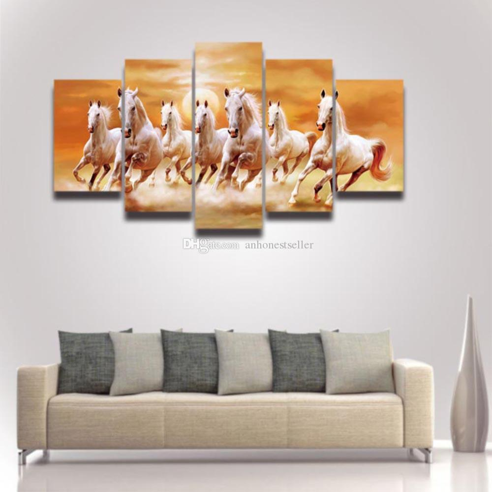 2018 5 Panel Printed Canvas Art Running Horse Picture Modern ...