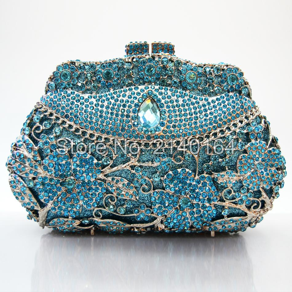 Pochette Soiree Women Evening Clutch Bags Women's Shining Crystal Flowers Evening Party Bags and Purses with Detachable Chain 1