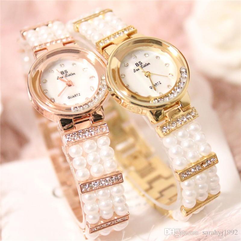 BS новые часы высокого класса цепи часы полный бурения перламутра женские часы FA1373