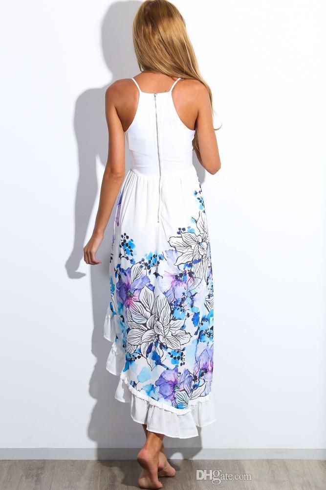 Europäische und amerikanische Sommer-Blumendruck-Maxi-Kleid-Frauen-Strand-Verein-beiläufige ärmellose V-Hals-Art- und Weiseboho-Kleidung geben Schiff frei
