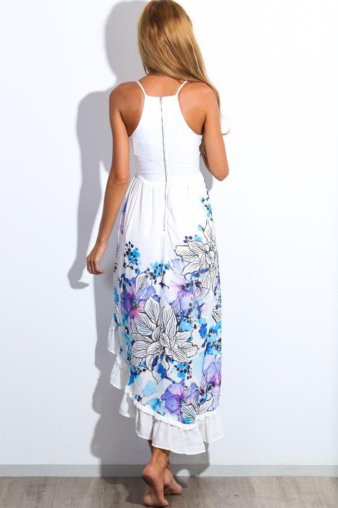 Wholesale European and American Summer Floral Print Maxi Dresses Womens Beach Club Casual Sleeveless V Neck Fashion Boho Clothes Free Ship