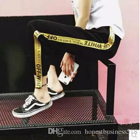 Acheter 2017 Spring New Off White Ribbon Pants Pantalons De Femme De Haute  Qualité Trend Brand Causal Pantalons Réguliers Sweatpants Neutral Women  Pants De ... d44eb790c