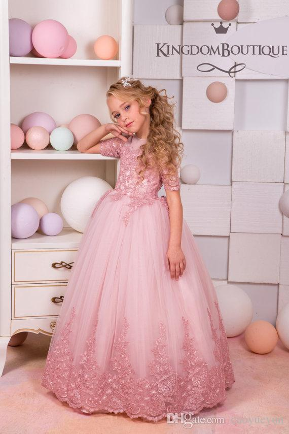 32bc858804b9 2019 NEW Blush Pink Lace Tulle Flower Girl Dress Wedding Party Holiday  Bridesmaid Birthday Blush Pink Flower Girl Tulle Lace Dress Toddlers Flower  Girl ...