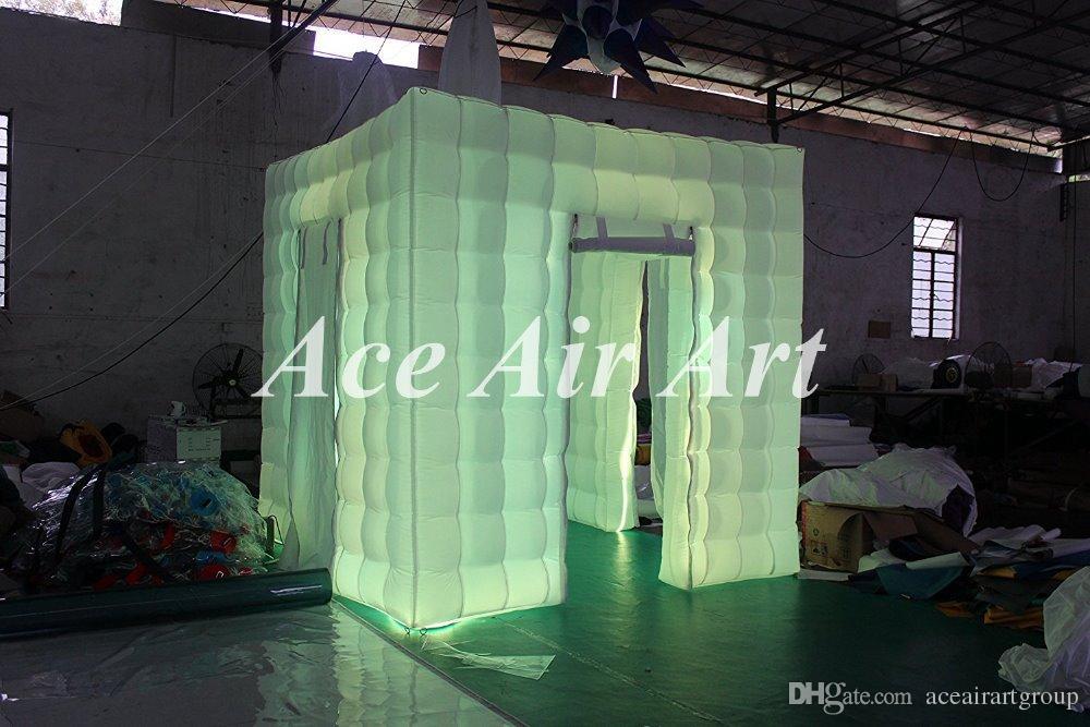 Quiosque inflável novo da foto da cabine 8ft barraca portátil inflável do cubo da cabine da foto com luzes conduzidas para o casamento
