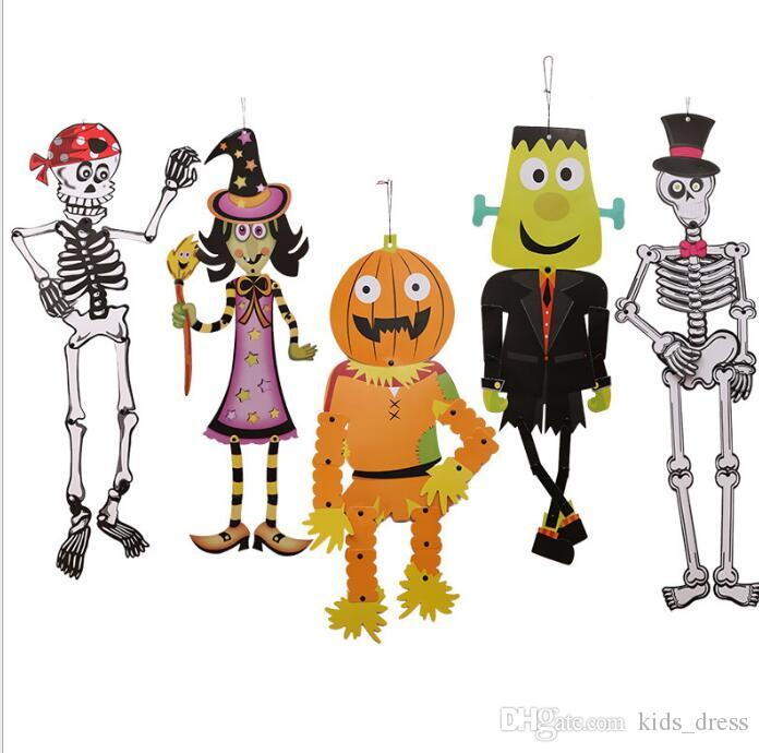 Diy Halloween Props Animated.Halloween Props Hanging Paper Grim Decoration Diy Skeleton Zombie Witch Outdoor Decor Halloween Decoration Party Accessories Kka2817