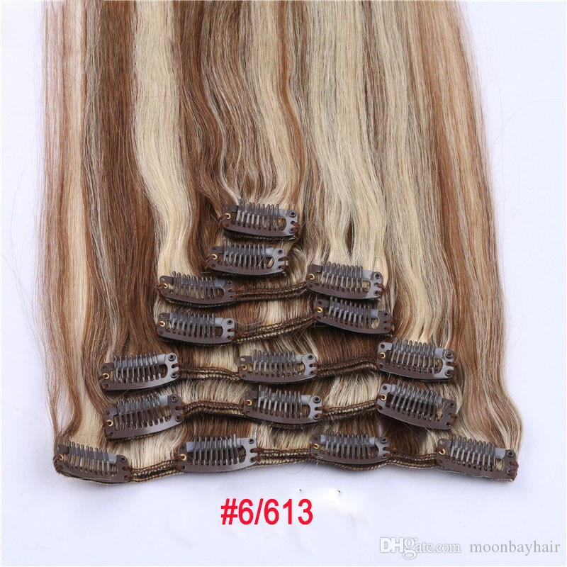 Remy Human Hair 15 18 20 22 Clip Hair Extension Natural Color