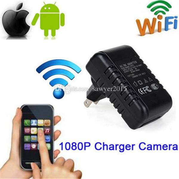 Original inalámbrico WiFi Cargador P2P cámara IP HD 1080P Cargador de pared cámara estenopeica Adaptador de CA enchufe Video Recorder Home Surveillance Camcorder