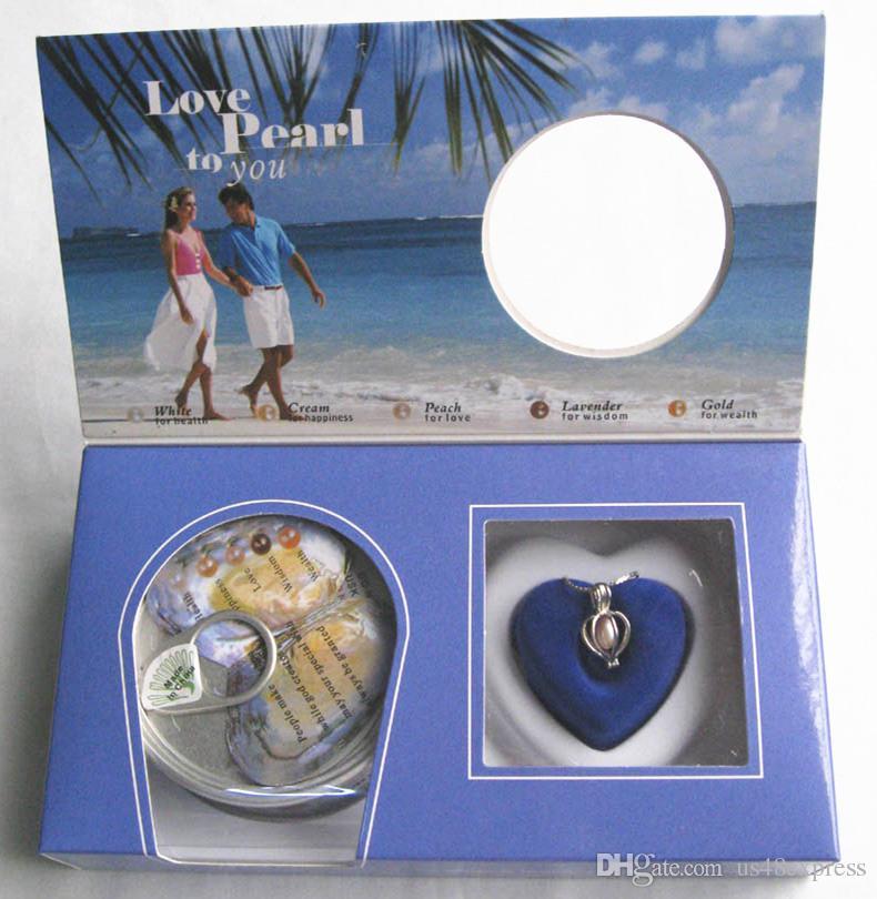 Venta al por mayor Juego de cajas Love Best Wish Necklace Breeding Real Pearl Wonen Necklace Oyster Drop Colgante de joyería