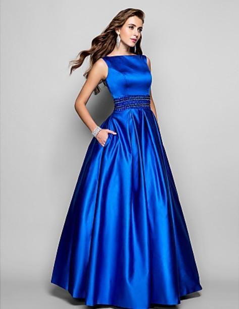 New Fashion Satin 2018 Natural Sexy Vestidos De Abendkleider Special Beaded Long Casual Elegant Party Beading Evening Dresses