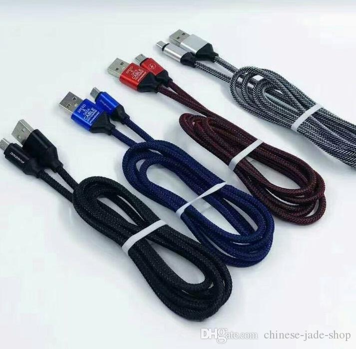 1.2 M 3.1A SPEED Şarj OD4.5 Metal Adatper Balık Kemik Mikro USB Kablosu Naylon Örgülü Kordon Tel Telefon TIPI C USB KABLOSU 200 adet / ot