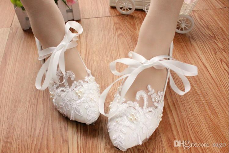 Ballet Ankle Tie Wedding Shoes Bridal Lace Flats Mid Heel Pumps Bow